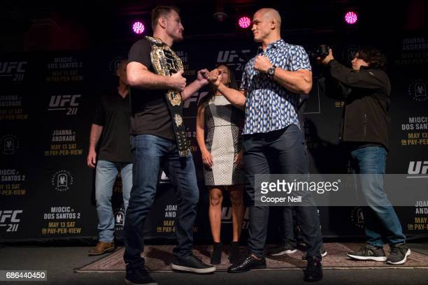 Stipe Miocic faces off with Junior dos Santos during the UFC 211 Ultimate Media Day at the House of Blues Dallas on May 10 2017 in Dallas Texas