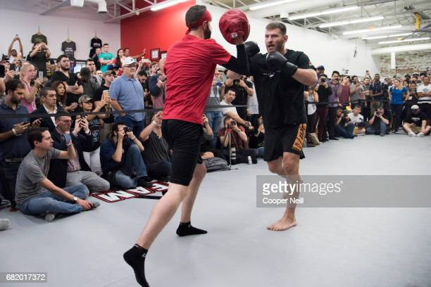 Stipe Miocic holds an open workout for the fans and media at Mohler MMA Brazilian JiuJitsu Boxing on May 11 2017 in Dallas Texas