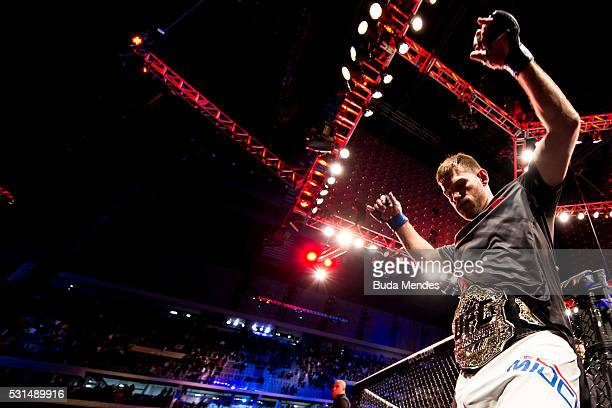 Stipe Miocic of the United States celebrates after defeating Fabricio Werdum of Brazil in their heavyweight bout during the UFC 198 at Arena da...