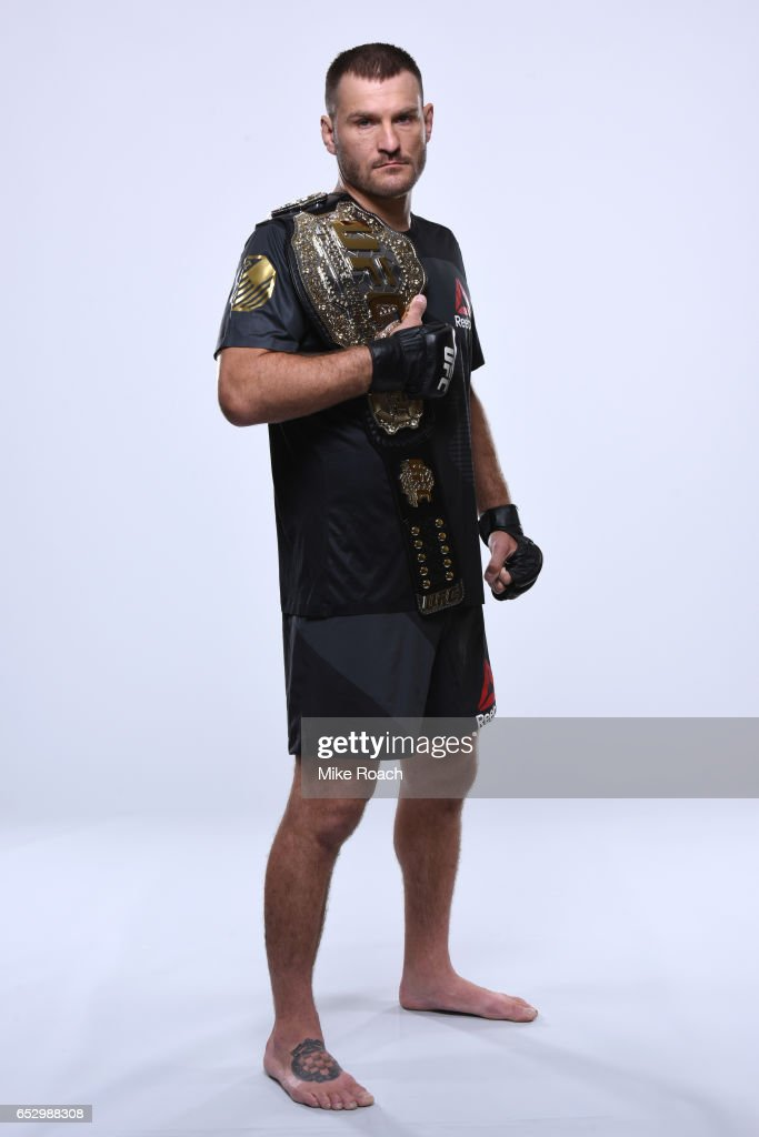 Stipe Miocic of the United States poses for a portrait during a UFC photo session on September 7, 2016 in Cleveland, Ohio.