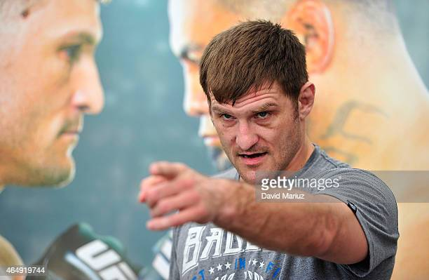 Stipe Miocic of the United States talks to the media during the UFC Adelaide Media Opportunity at Adelaide Entertainment Centre on March 2 2015 in...