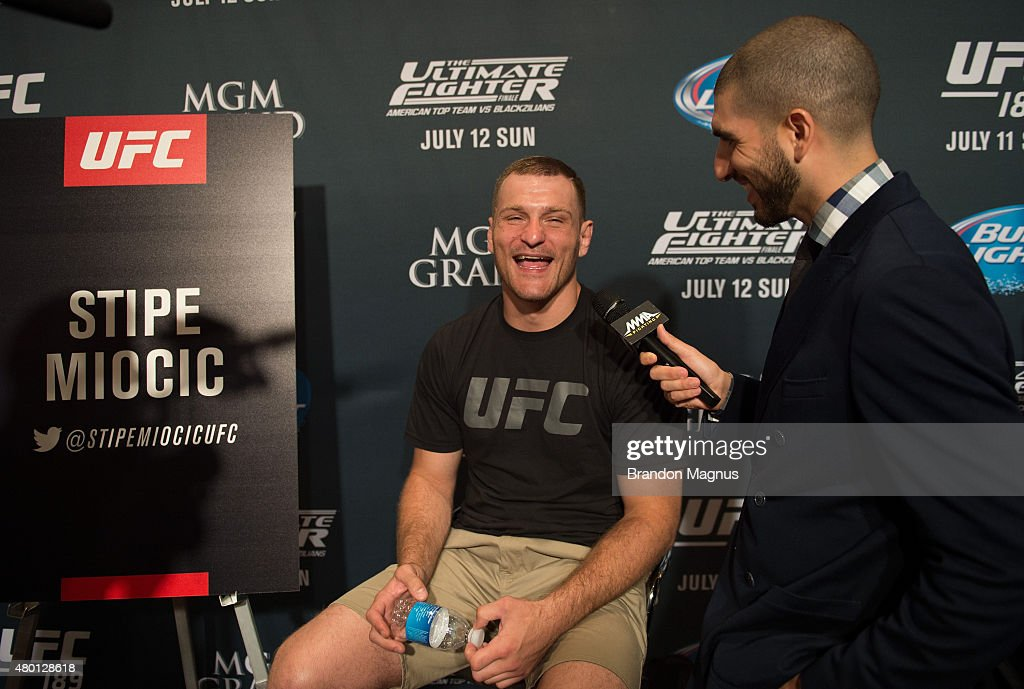Stipe Miocic speaks to the media during the UFC International Fight Week Ultimate Media Day at MGM Grand Hotel & Casino on July 9, 2015 in Las Vegas Nevada.