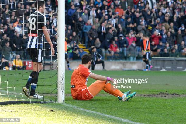 Stipe Perica and Orestis Karnezis goalkeeper of Udinese Calcio show their dejection after Bonucci's of Juventus goal during the Serie A match between...