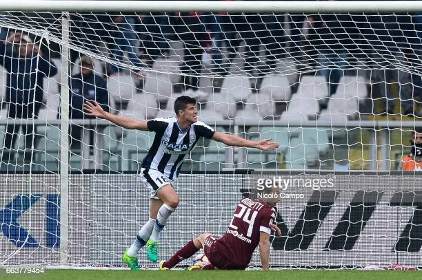 Stipe Perica of Udinese Calcio celebrates after scoring a goal during the Serie A football match between Torino FC and Udinese Calcio Final result is...