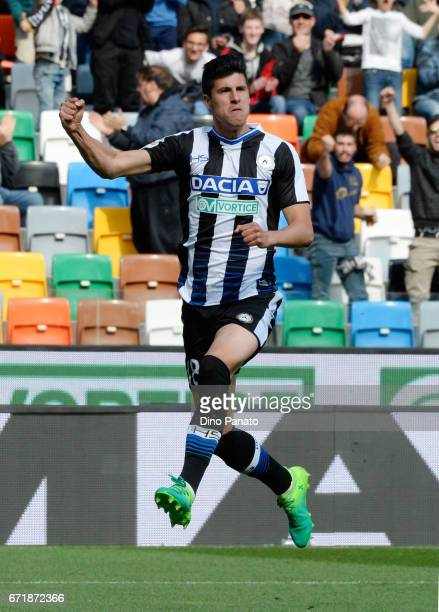 Stipe Perica of Udinese Calcio celebrates after scoring his opening goal during the Serie A match between Udinese Calcio and Cagliari Calcio at...