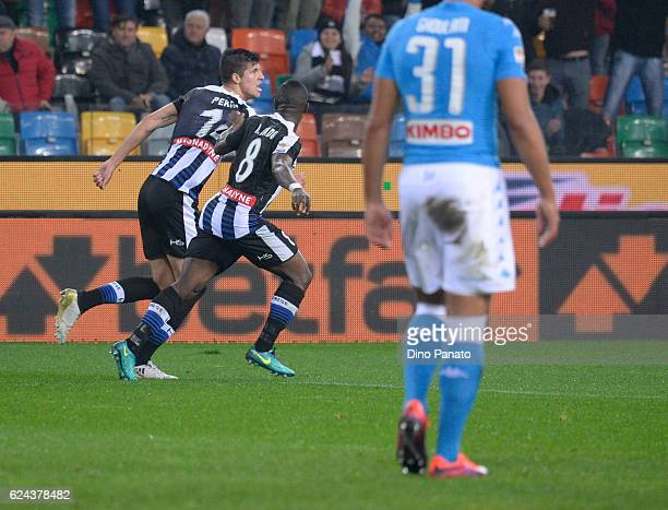 Stipe Perica of Udinese Calcio celebrates after scoring his team's first goal during the Serie A match between Udinese Calcio and SSC Napoli at...
