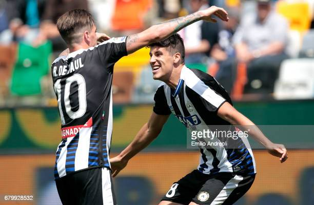 Stipe Perica of Udinese Calcio celebrates his goal with his teammate Rodrigo Javier De Paul during the Serie A match between Udinese Calcio and...