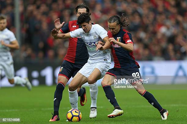 Stipe Perica of Udinese Calcio in action during the Serie A match between Genoa CFC and Udinese Calcio at Stadio Luigi Ferraris on November 6 2016 in...
