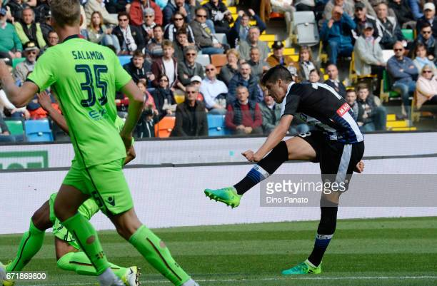 Stipe Perica of Udinese Calcio scores his opening goal during the Serie A match between Udinese Calcio and Cagliari Calcio at Stadio Friuli on April...