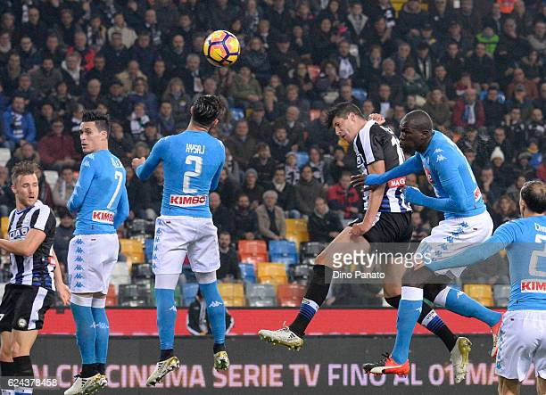 Stipe Perica of Udinese Calcio scores his team's first goal during the Serie A match between Udinese Calcio and SSC Napoli at Stadio Friuli on...
