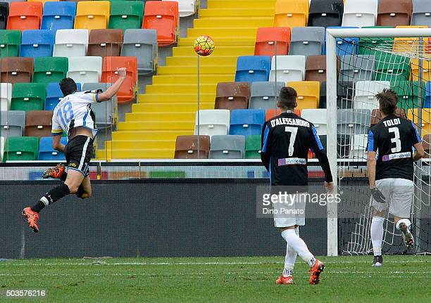 Stipe Perica of Udinese Calcio scores his team's second goal during the Serie A match between Udinese Calcio v Atalanta BC at Stadio Friuli on...