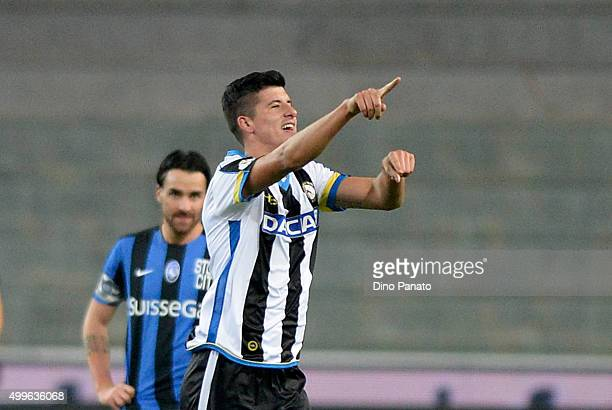 Stipe Perica of Udinese celebrates after scoring his team's second goal during the TIM Cup match between Udinese Calcio and Atalanta BC at Stadio...