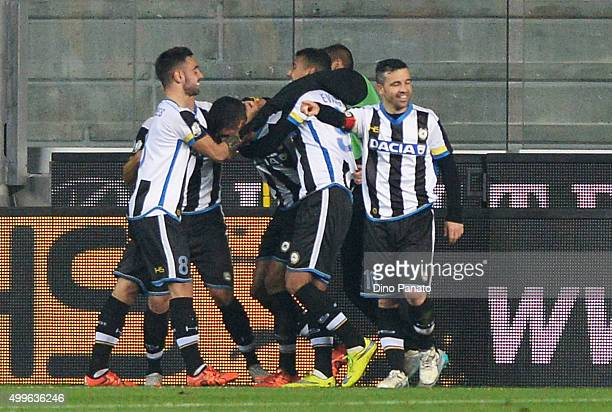 Stipe Perica of Udinese is mobbed by team mates after scoring his team's second goal during the TIM Cup match between Udinese Calcio and Atalanta BC...