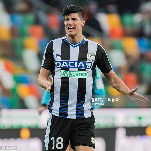 Stipe Perica of Udineseduring the Italian Serie A match between Udinese and AS Roma at Dacia Arena on January 15 2017 in Udine Italy