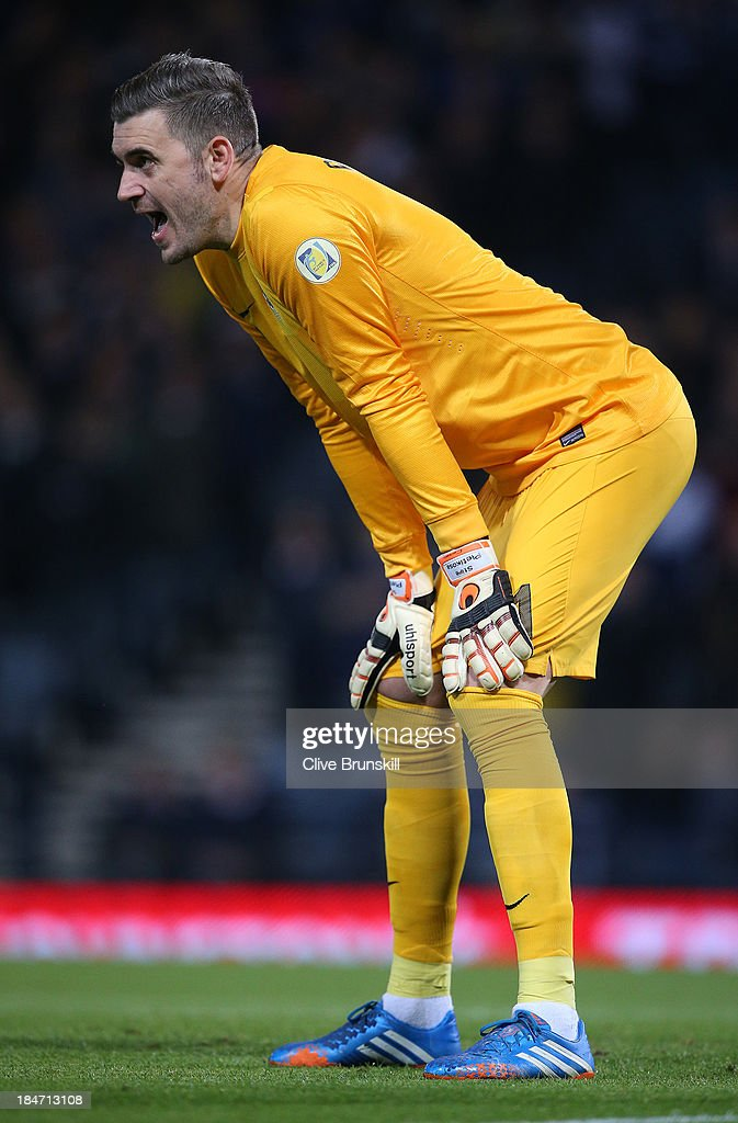 Stipe Pletikosa of Croatia during the FIFA 2014 World Cup Qualifying Group A match between Scotland and Croatia at Hampden Park on October 15 2013 in...