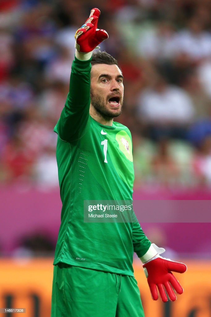 Stipe Pletikosa of Croatia gestures during the UEFA EURO 2012 group C match between Croatia and Spain at The Municipal Stadium on June 18 2012 in...