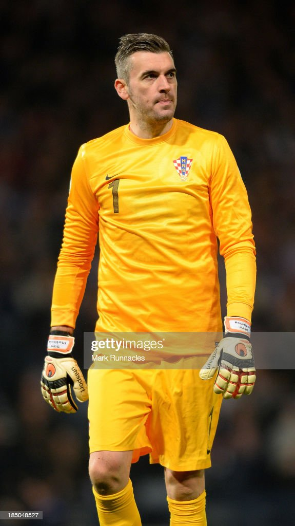 Stipe Pletikosa of Croatia in action during the FIFA 2014 World Cup Qualifying Group A match between Scotland and Croatia at Hampden Park on October...
