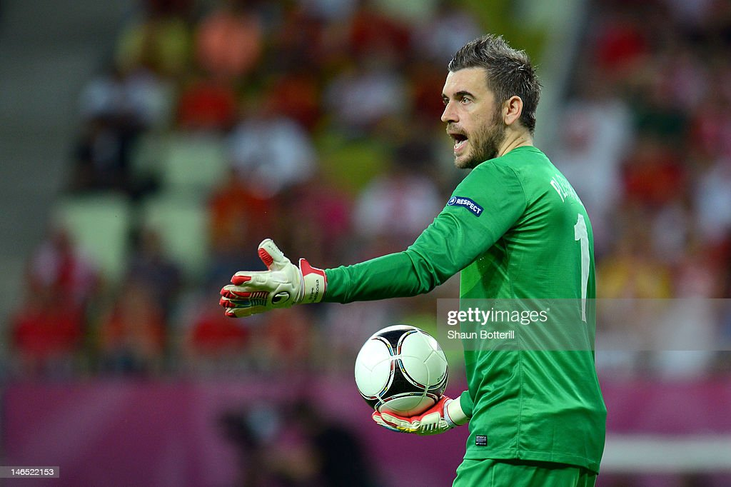 Stipe Pletikosa of Croatia in action during the UEFA EURO 2012 group C match between Croatia and Spain at The Municipal Stadium on June 18 2012 in...