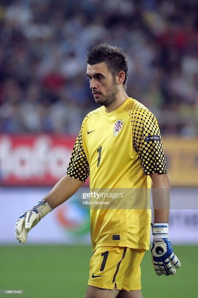Stipe Pletikosa of Croatia in action during the UEFA Euro 2012 Qualifying round group F match between Greece and Croatia at the Georgios Karaiskakis...