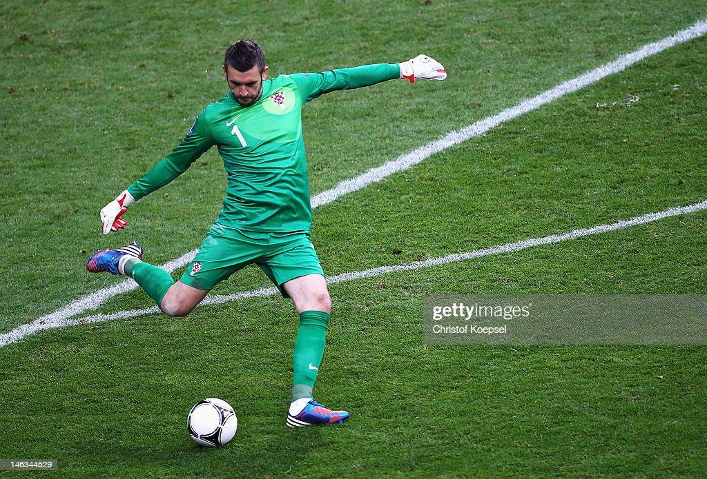 Stipe Pletikosa of Croatia kicks the ball during the UEFA EURO 2012 group C match between Italy and Croatia at The Municipal Stadium on June 14 2012...