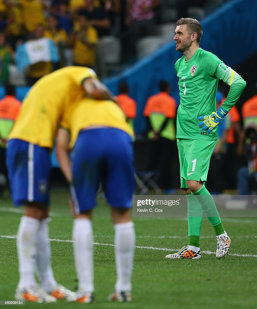 Stipe Pletikosa of Croatia looks on after allowing a goal by Oscar of Brazil in the second half during the 2014 FIFA World Cup Brazil Group A match...