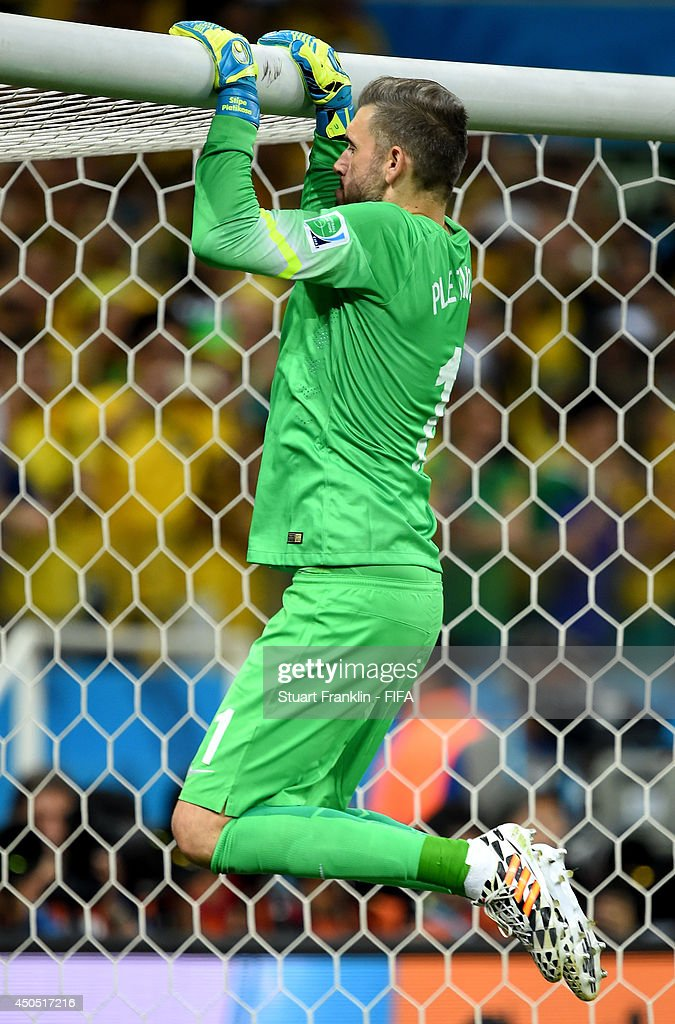 Stipe Pletikosa of Croatia prepares for the penalty kick during the 2014 FIFA World Cup Brazil Group A match between Brazil and Croatia at Arena de...