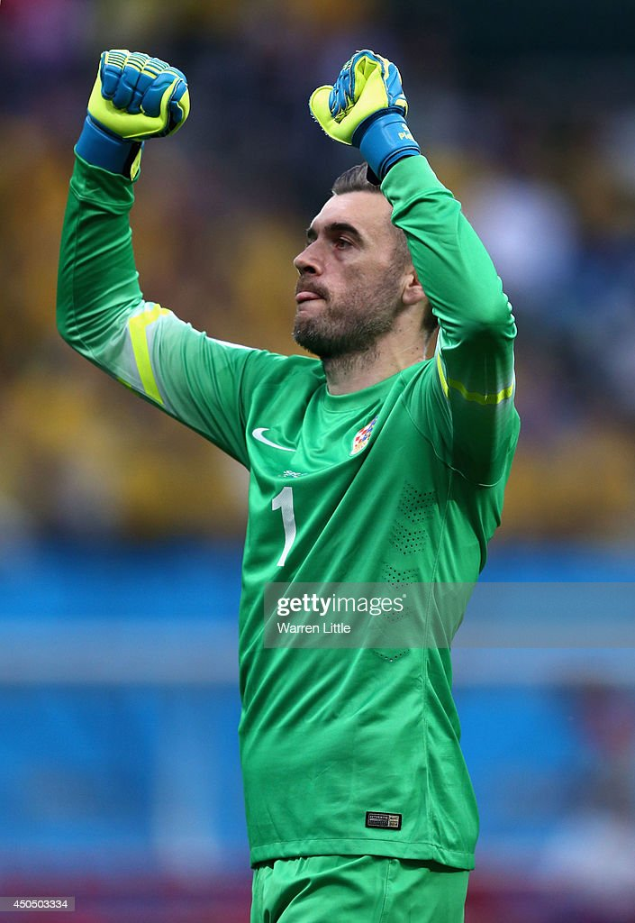 Stipe Pletikosa of Croatia reacts after a goal in the first half during the 2014 FIFA World Cup Brazil Group A match between Brazil and Croatia at...