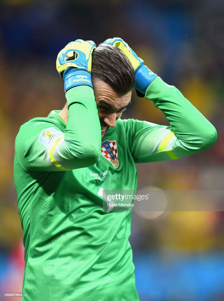 Stipe Pletikosa of Croatia reacts after allowing a goal on a penalty kick by Neymar of Brazil during the 2014 FIFA World Cup Brazil Group A match...