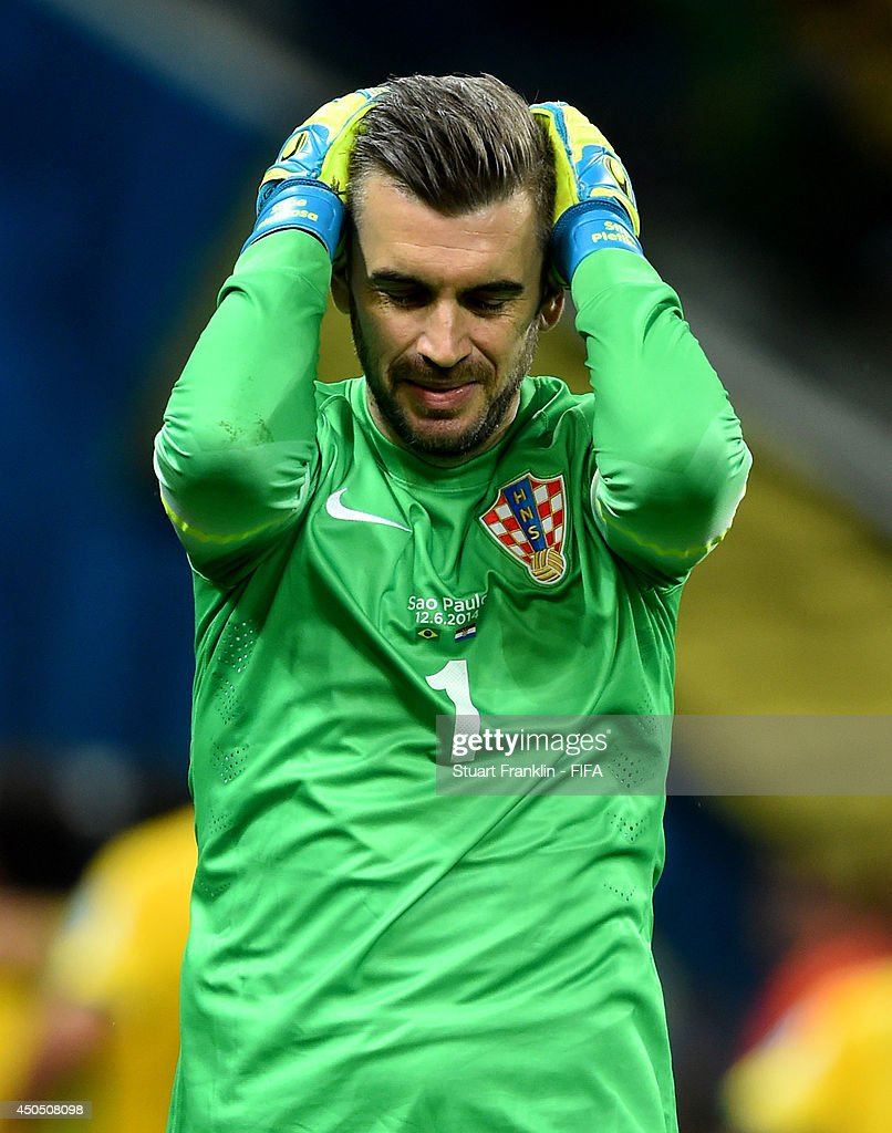 Stipe Pletikosa of Croatia reacts after conceding a goal from the penalty spot during the 2014 FIFA World Cup Brazil Group A match between Brazil and...