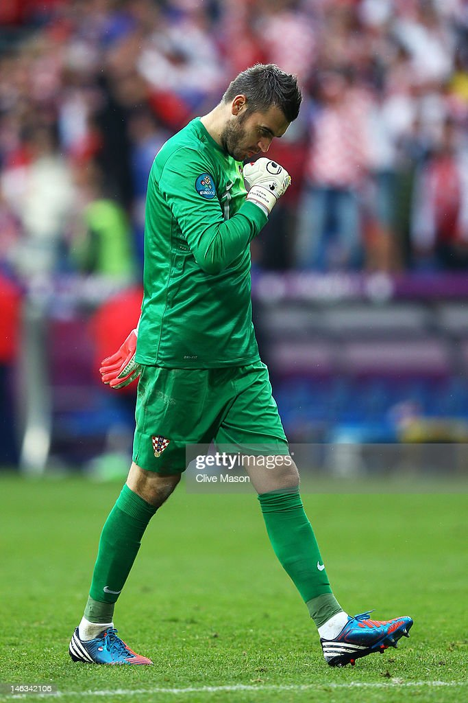 Stipe Pletikosa of Croatia reacts during the UEFA EURO 2012 group C match between Italy and Croatia at The Municipal Stadium on June 14 2012 in...