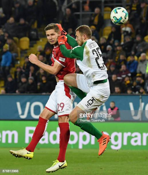 Stipe Vucur of Kaiserslautern scores the equalizer against goalkeeper Marvin Schwaebe of Dresden during the Second Bundesliga match between SG Dynamo...
