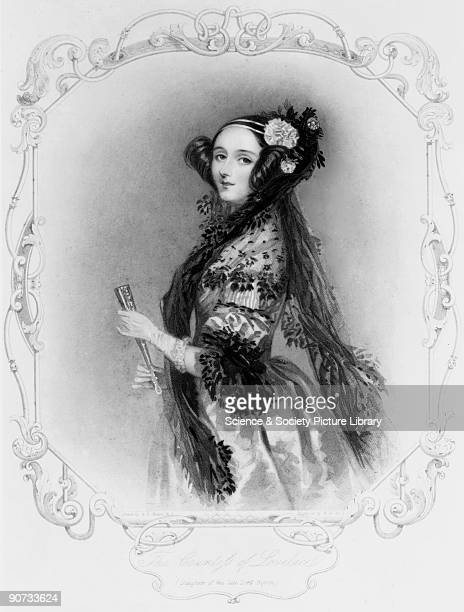 Stipple engraving after a watercolour portrait by Alfred Edward Chalon of Ada King wearing evening dress with a mantilla and holding a fan Augusta...