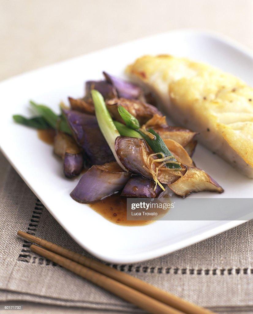 Stir Fried Eggplant and Fish Entree : Stock Photo