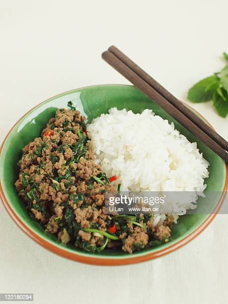 Stir fried minced beef with chopped mint