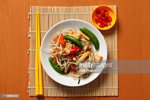 Stir fried vegetables with chillies. Chinese food