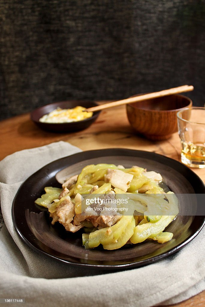 Stirfried bittergourd with pork stock photo getty images - Bitter melon culture ...
