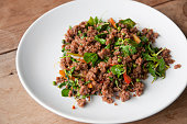 Stir-fried minced beef with basil and chili.