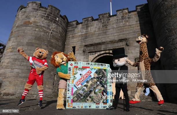 Stirling Albion football club mascot Beano Blair Drummond Safari Park mascot Safari Sam Mr Monopoly and Blair Drummond Safari Park mascot Gary The...