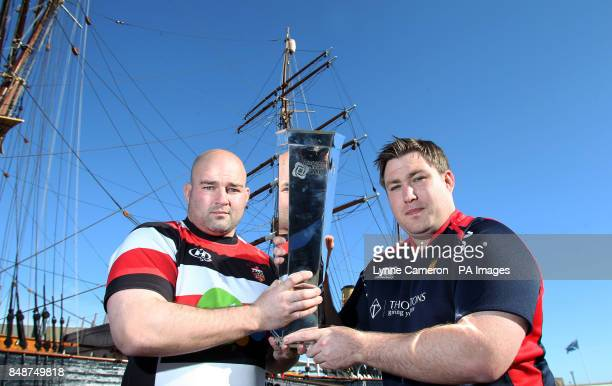 Stirling County's Alex Moffat and Dundee's Neil Dymock during the British and Irish Cup Launch at Discovery Quay Dundee