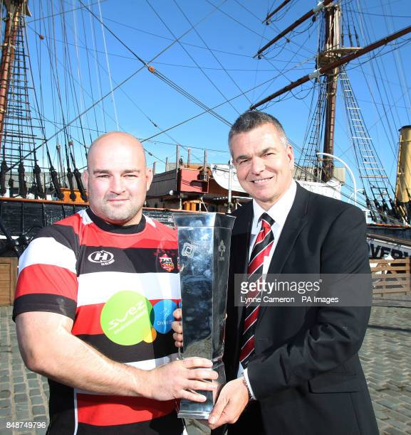 Stirling County's Alex Moffat and Kevin Robertson during the British and Irish Cup Launch at Discovery Quay Dundee