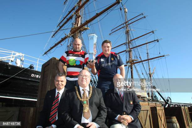 Stirling County's Alex Moffat Dundee's Neil Dymock Stirling County's Kevin Robertson Gerry Tosh and Lord Provost Bob Duncan during the British and...
