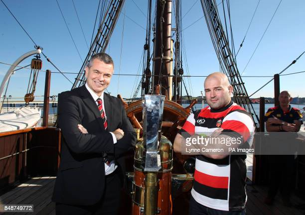 Stirling County's Kevin Robertson and Alex Moffat at the launch of the British and Irish Cup at RRS Discovery Dundee