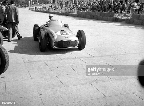 Stirling Moss in his Mercedes W196 entering the pits Monaco GP Monte Carlo 1955