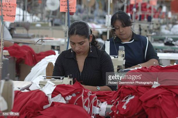 Stitchers work at the BonWorth clothing factory in Mexico on March 24 2006 Clothing manufacturer BonWorth factory has 650 employees producing about...