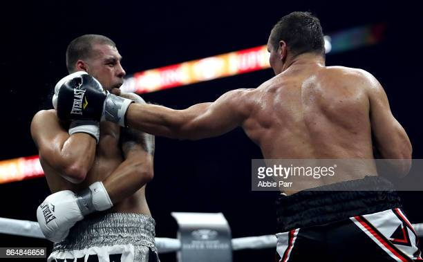 Stivens Bujaj is punched by Mateusz Masternak during their CoMain Cruiserweight fight at Prudential Center on October 21 2017 in Newark New Jersey