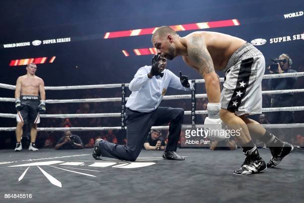 Stivens Bujaj stumbles after being punched by Mateusz Masternak during their CoMain Cruiserweight fight at Prudential Center on October 21 2017 in...