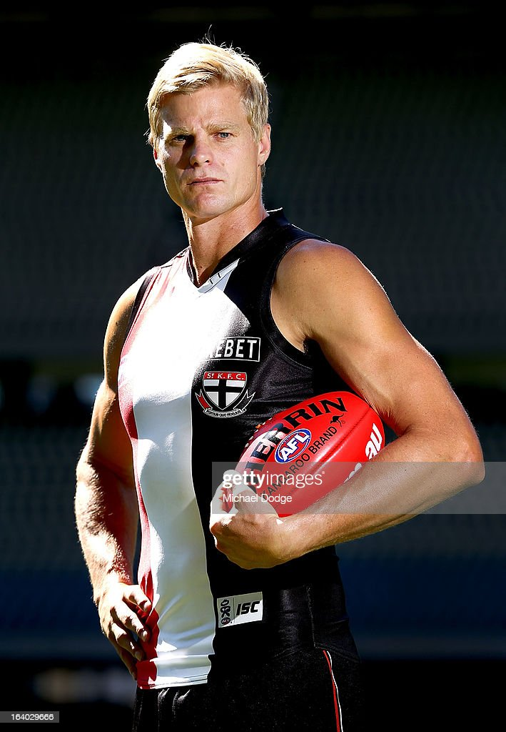St.Kilda Saints captain <a gi-track='captionPersonalityLinkClicked' href=/galleries/search?phrase=Nick+Riewoldt&family=editorial&specificpeople=176552 ng-click='$event.stopPropagation()'>Nick Riewoldt</a> poses during the AFL Captains media Day at Etihad Stadium on March 19, 2013 in Melbourne, Australia.
