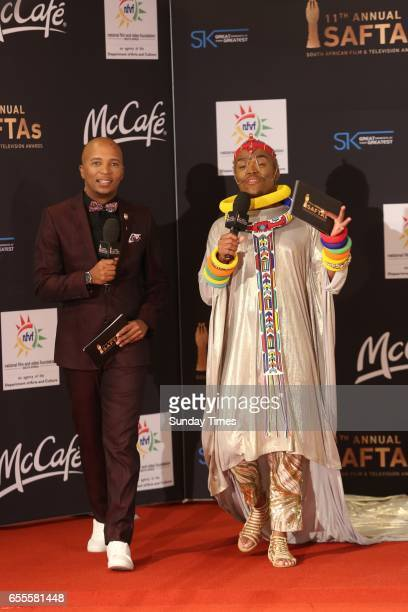 Stoan Seate and Somizi Mhlongo on the red carpet during the South African Film and Television Awards at Sun City on March 18 2017 in Rustenburg South...