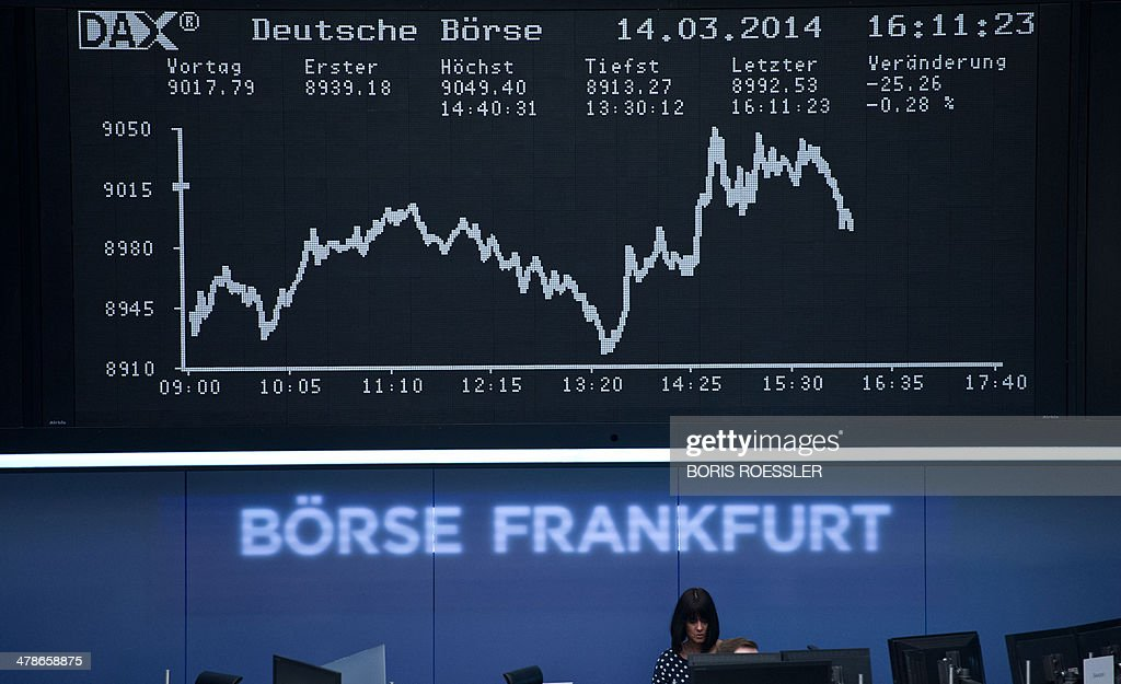Stock brokers work in front of the display showing the German stock market index DAX at the stock exchange in Frankfurt am Main, central Germany on March 14, 2014. Germany's DAX stock index fell below 9,000 points during afternoon trading.
