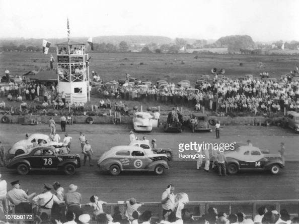 Stock Cars line up for a race at the onemile Langhorne Speedway